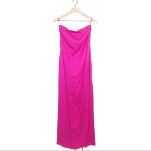 Trina Turk Leg Slit Strapless Hot Pink Midi Dress